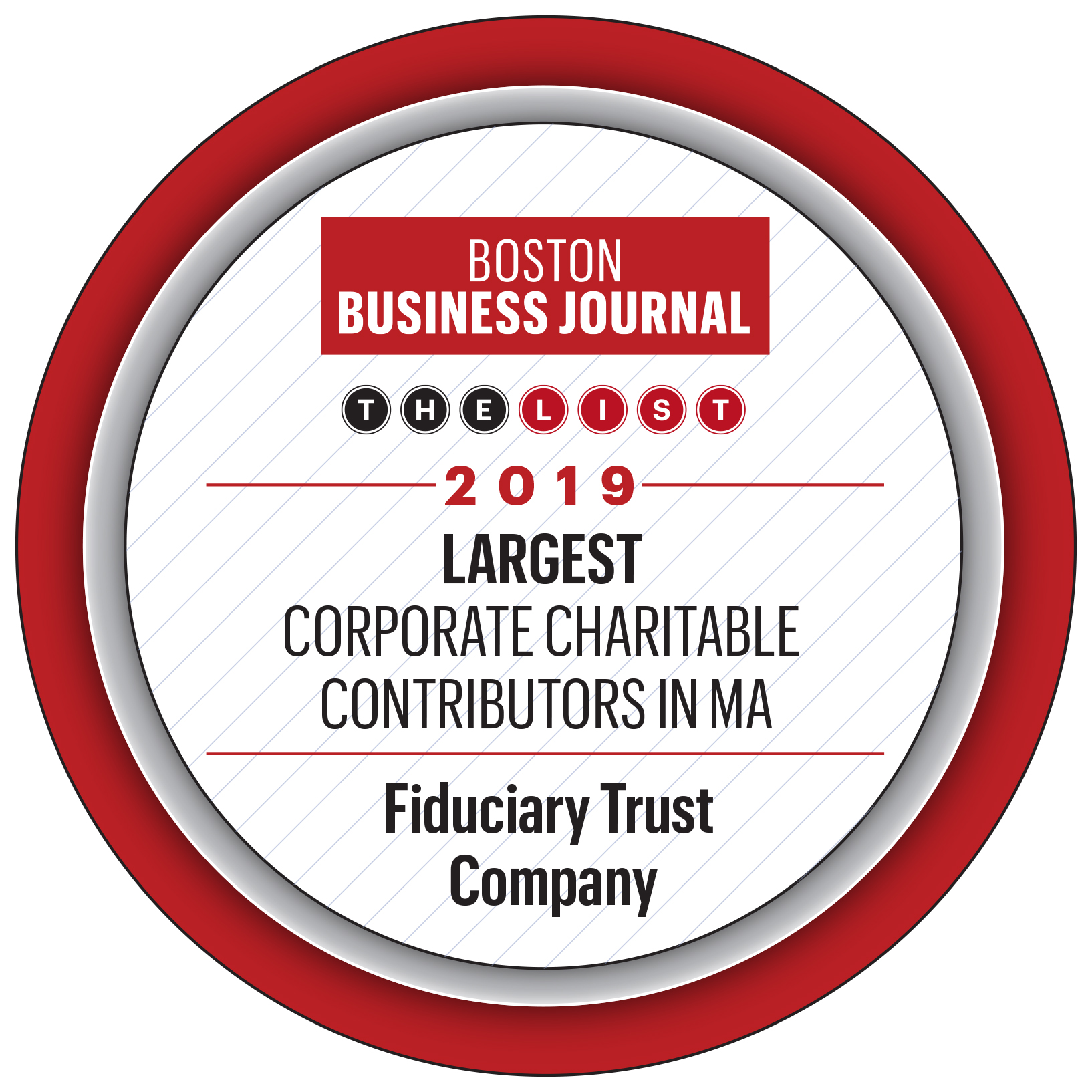 Fiduciary Trust is a 2019 BBJ Top Charitable Contributor